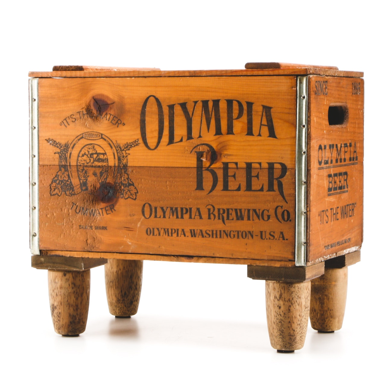 Vintage Olympia Beer Wood Crate With Feet