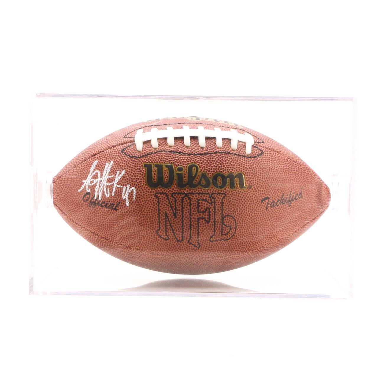 A.J. Hawk Signed OSU Star NFL Football With Case