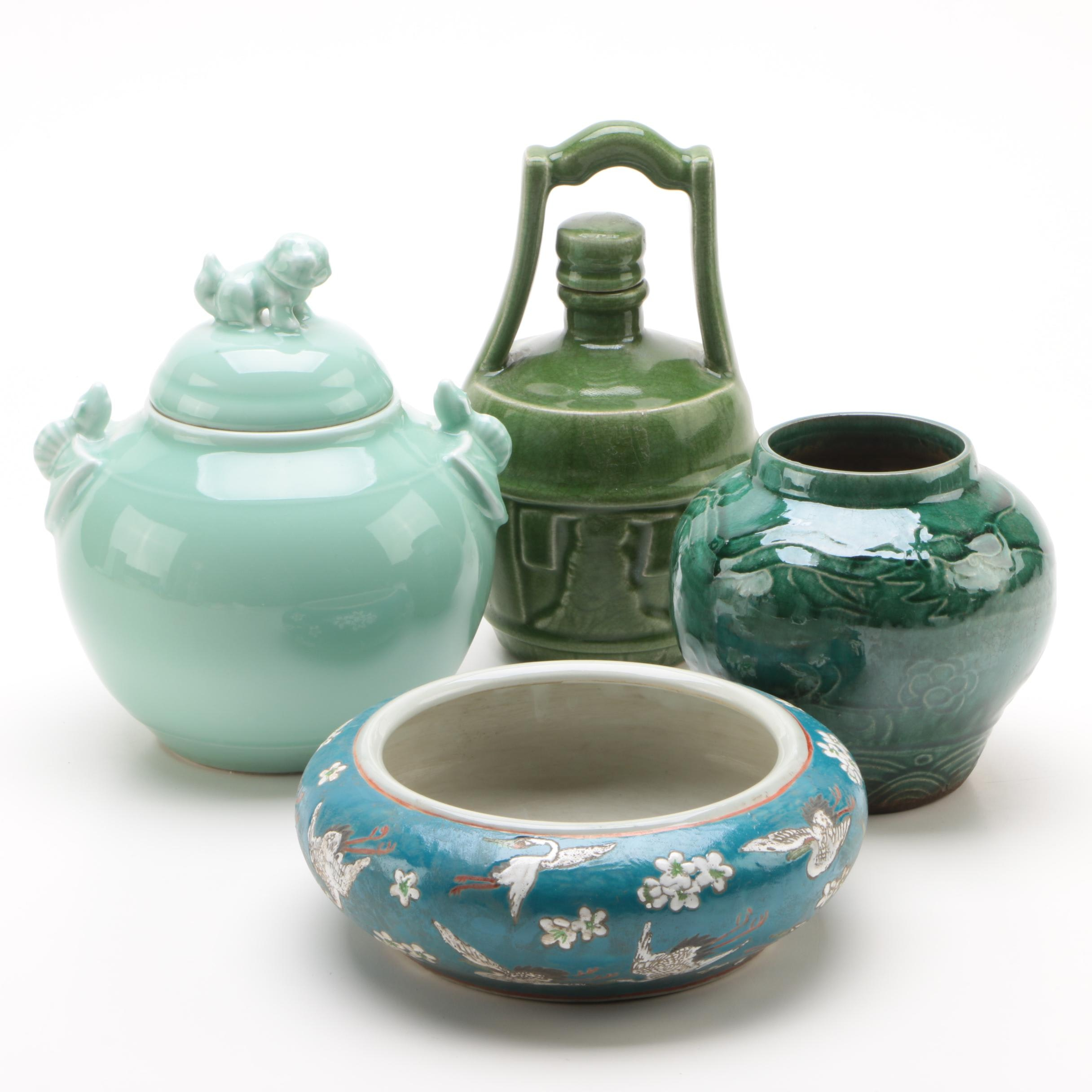 Chinese Green Hue Glazed Jars and Vase with Hand-Painted Planter
