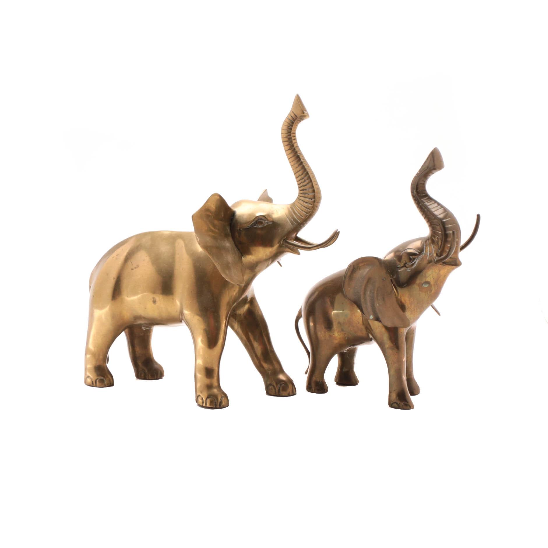 Two Brass Elephant Figures