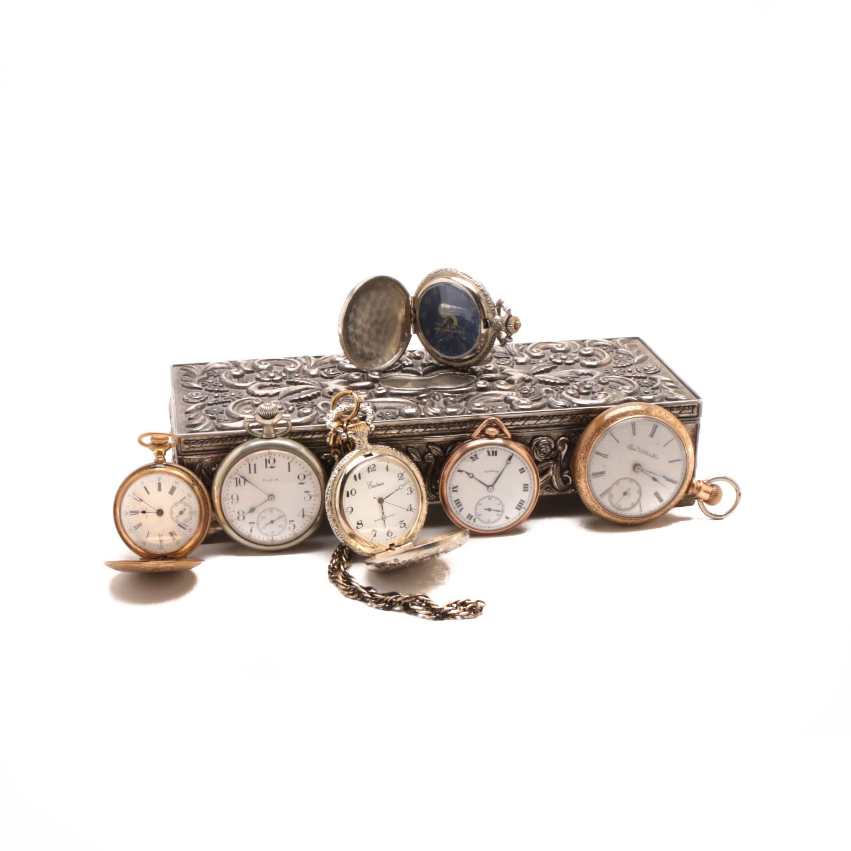 Six Pocket Watches and Silver Plate Jewelry Box