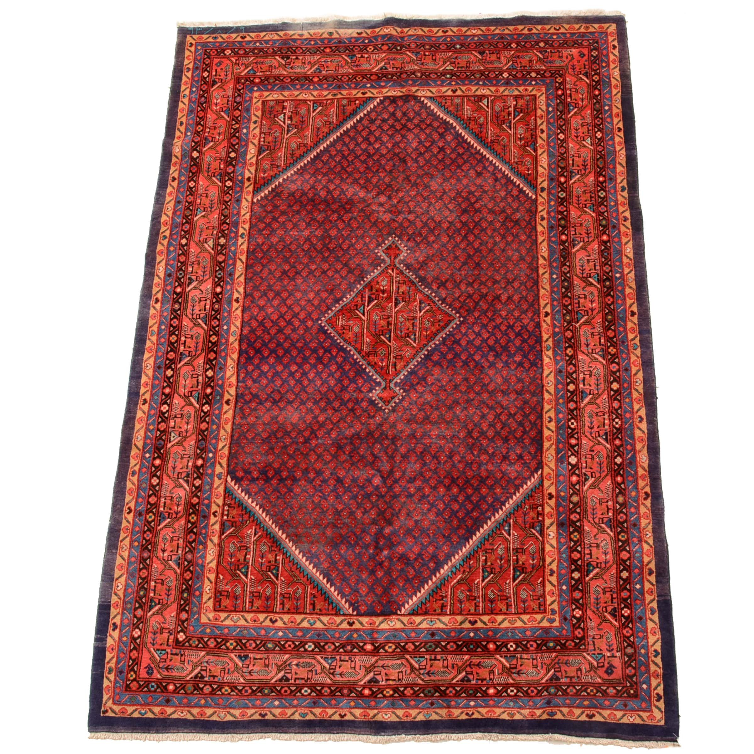 Hand-Knotted Persian Boteh Area Rug