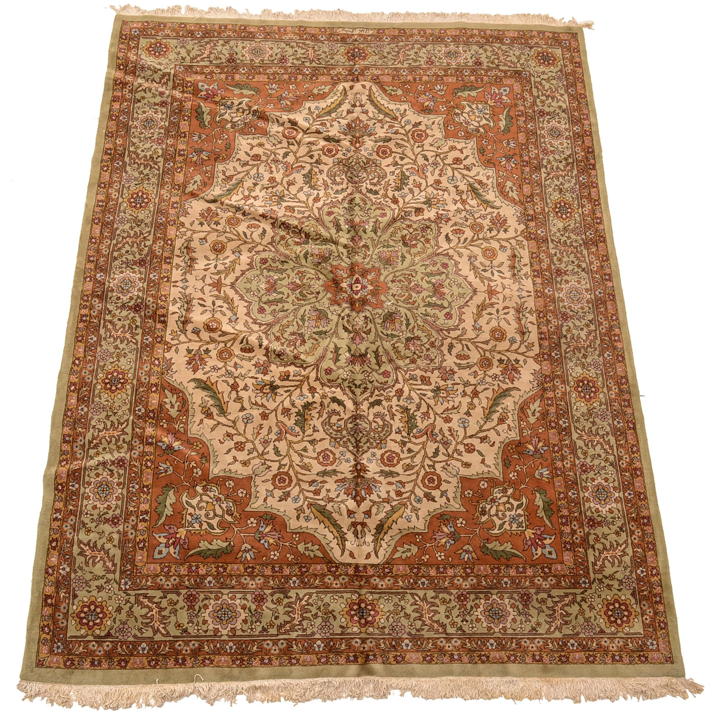 Inscribed Hand-Knotted Romanian Persian-Style Area Rug