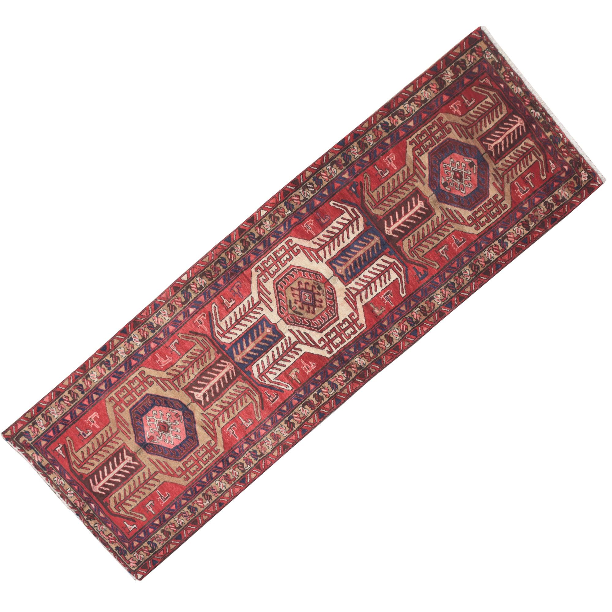 Hand-Knotted Caucasian Lenkoran Wool Carpet Runner