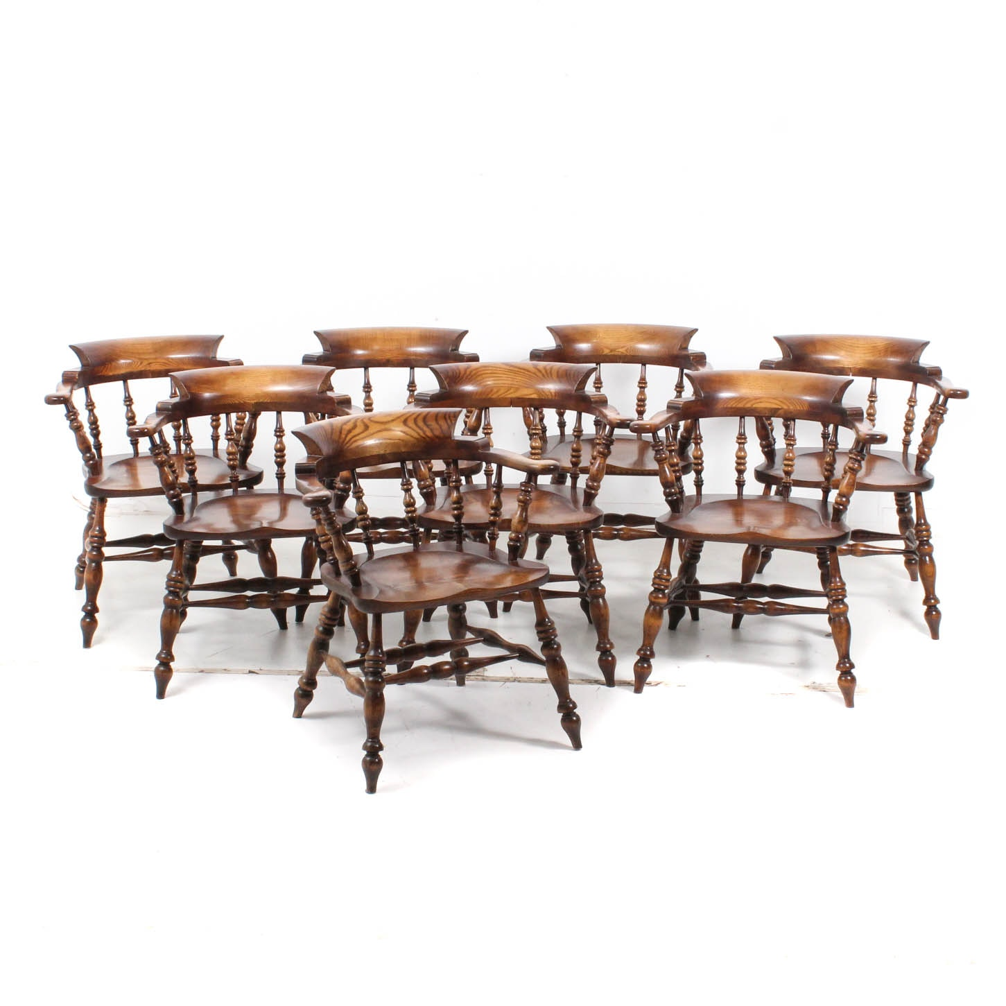 Vintage Oak Captain Chairs