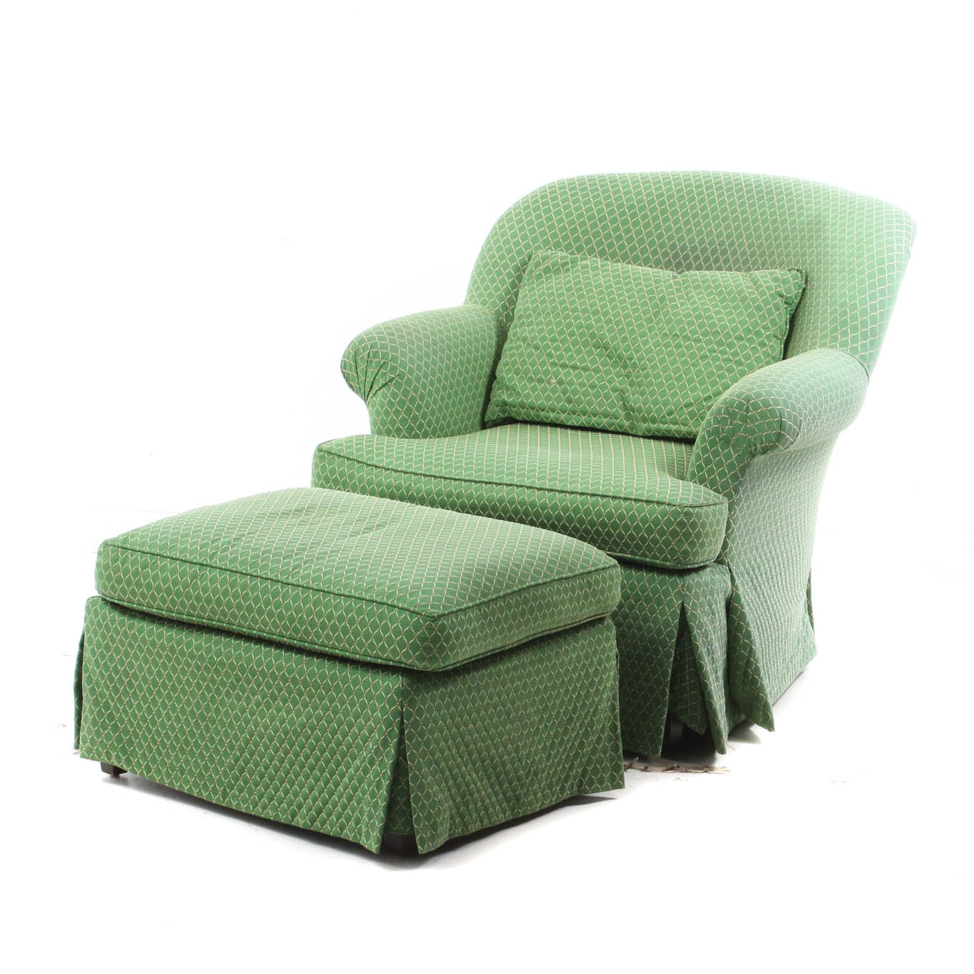Green Custom Upholstered Chair and Ottoman