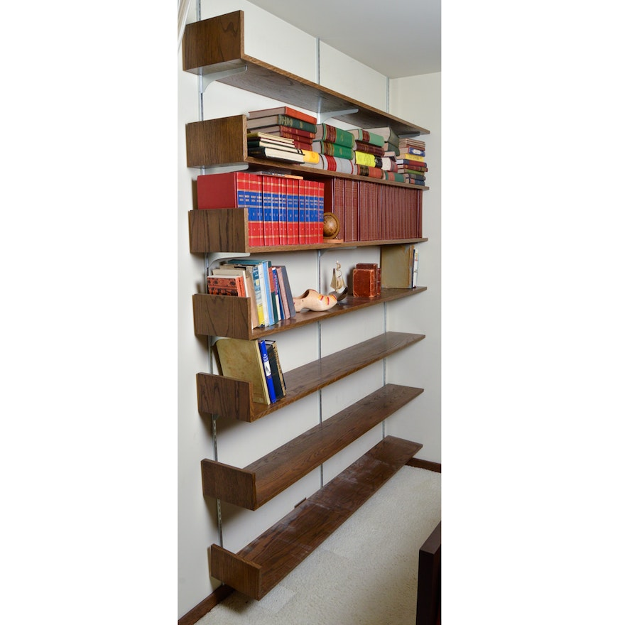Oak Finished Adjustable Wall Shelves With Bookends Ebth