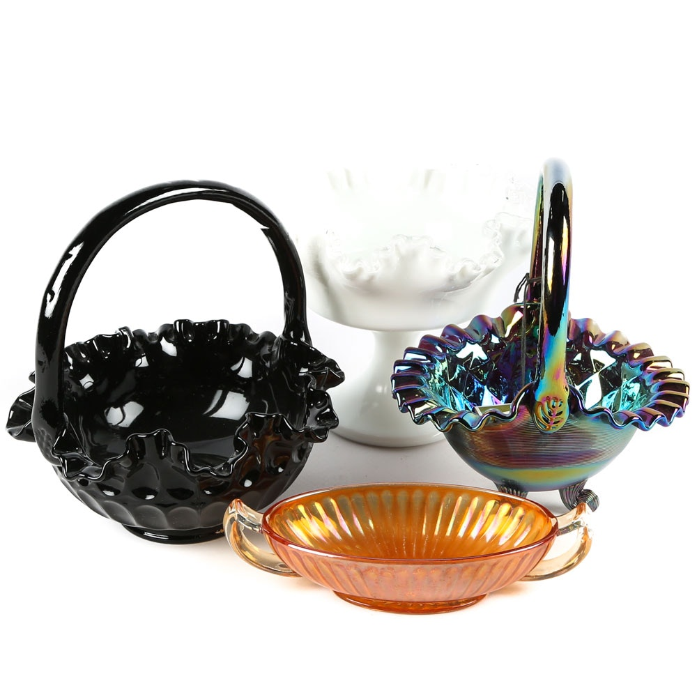 Fenton Art Glass Baskets and a Milk Glass Compote