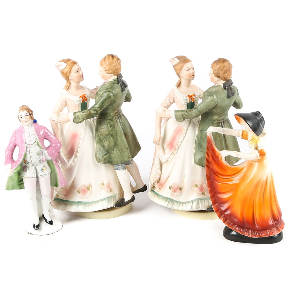 Vintage Porcelain Figurines and Music Boxes
