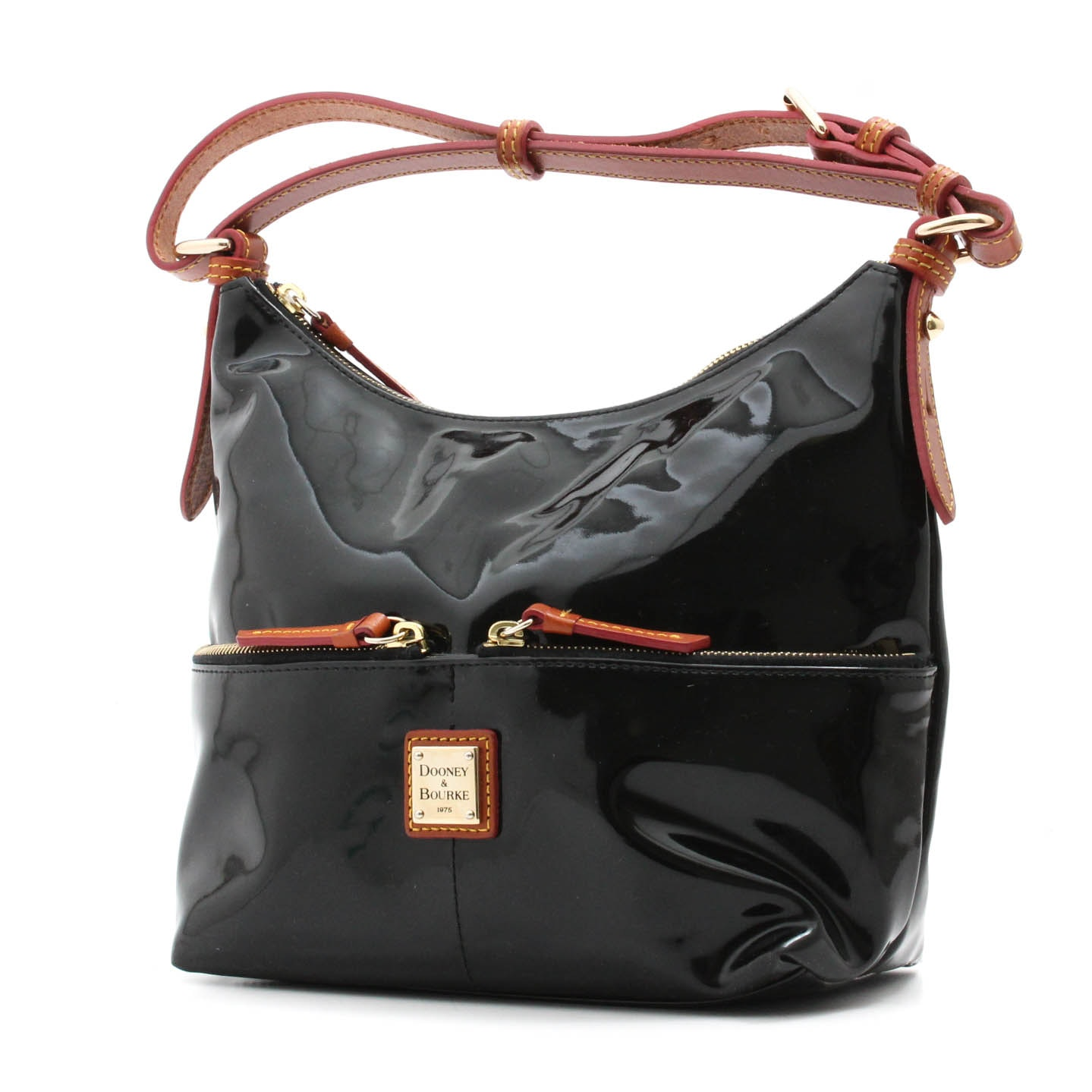 Dooney & Bourke Black Patent and Brown Leather Handbag