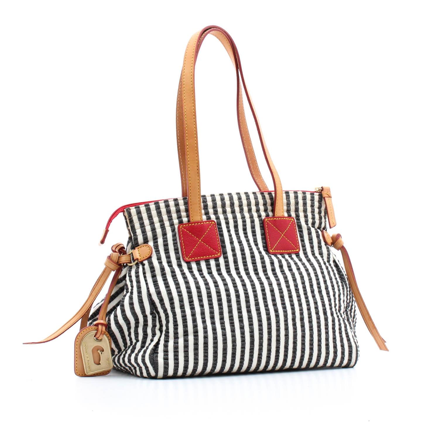 Dooney & Bourke Seersucker Stripe and Leather Handbag