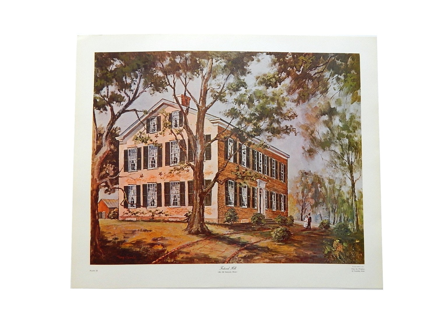 """1972 Unframed Tony Oswald My Old Kentucky Home """"Federal Hill"""" Print"""