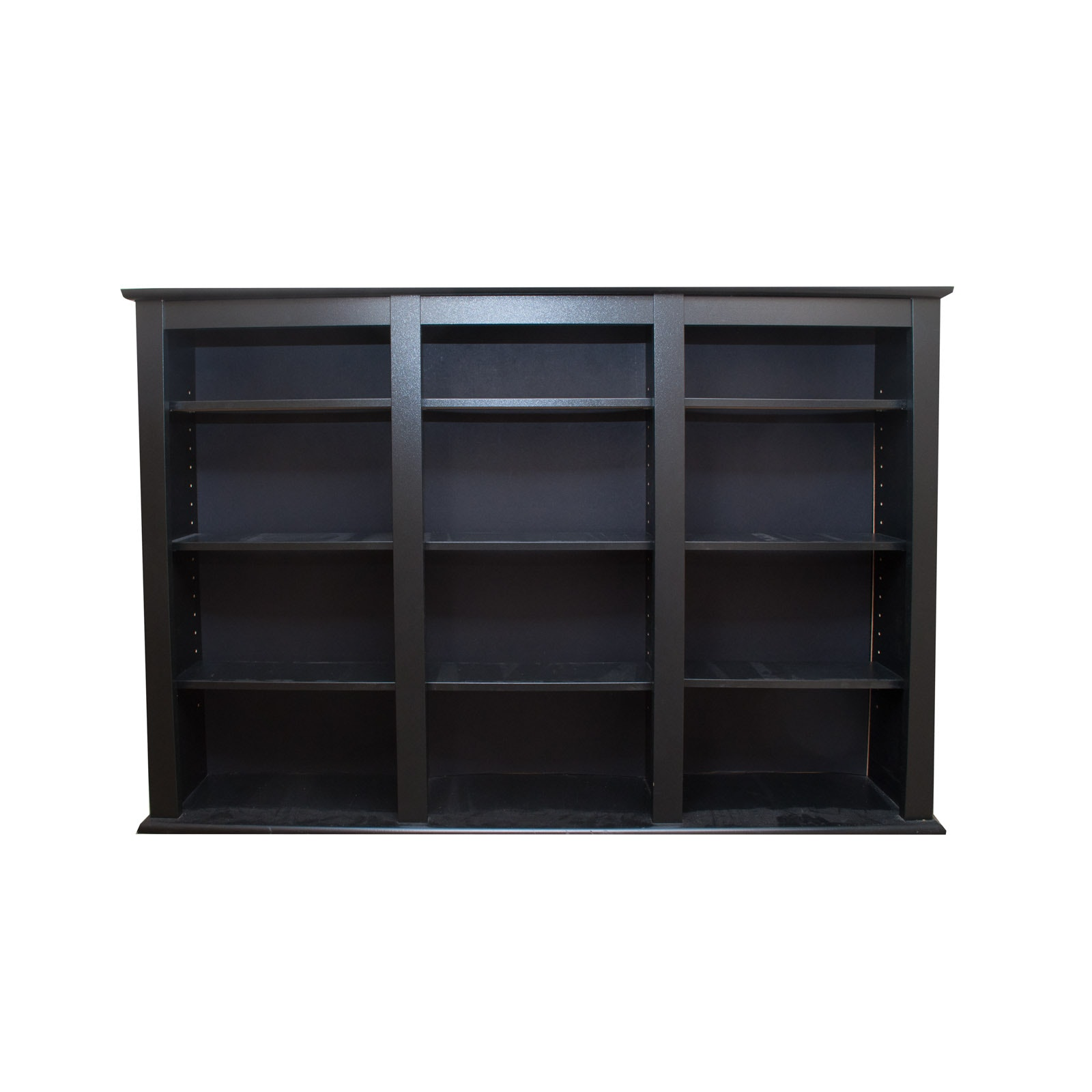 Painted Black Wooden Wall Shelving Unit