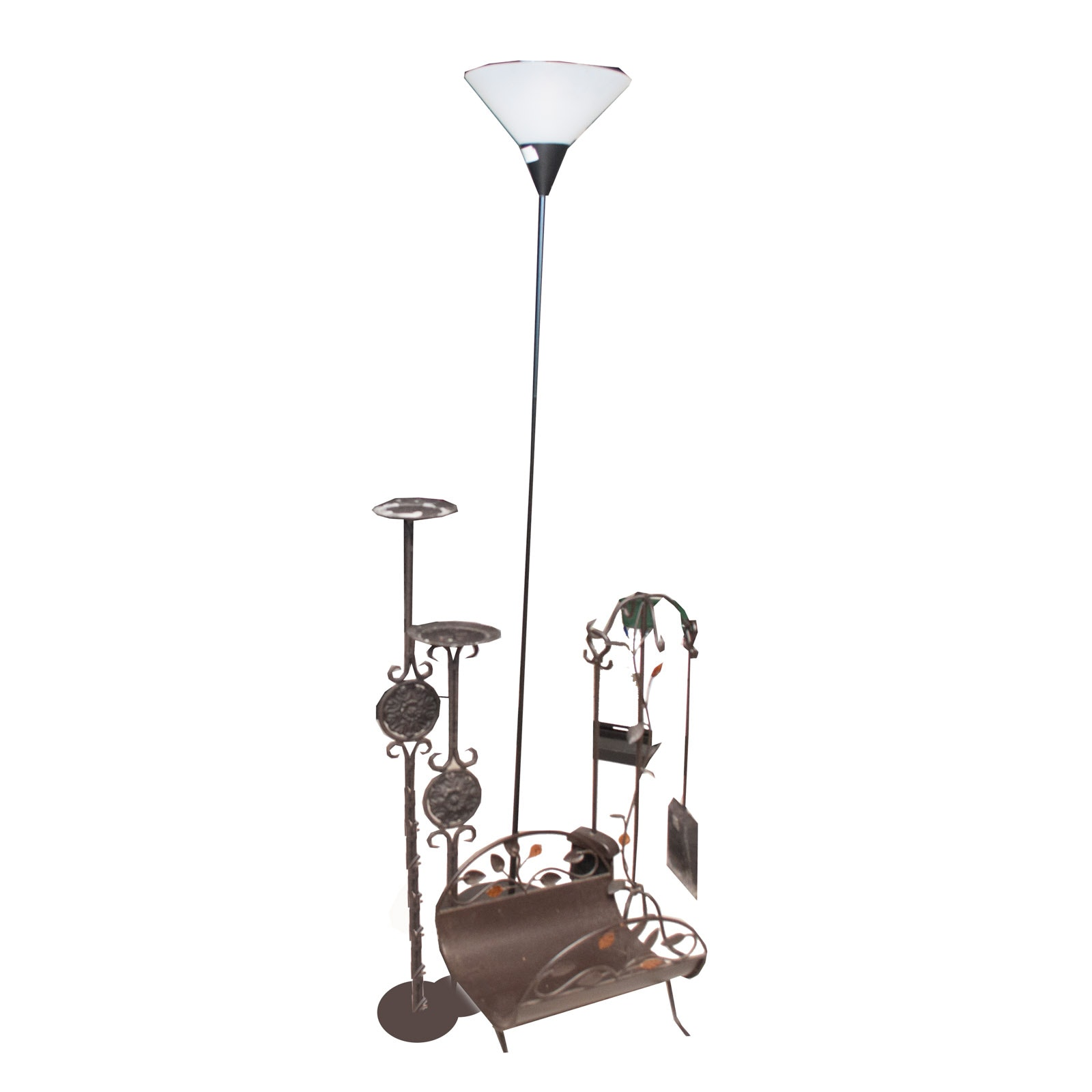 Metal Decor Assortment With Torchiere Lamp and Fireplace Tools