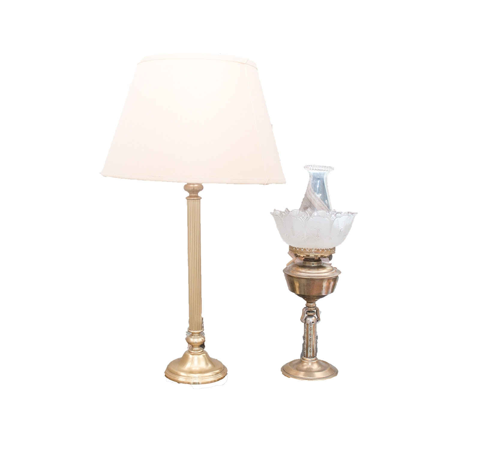 Pair of Brass Toned Table Lamps, Including Restoration Hardware