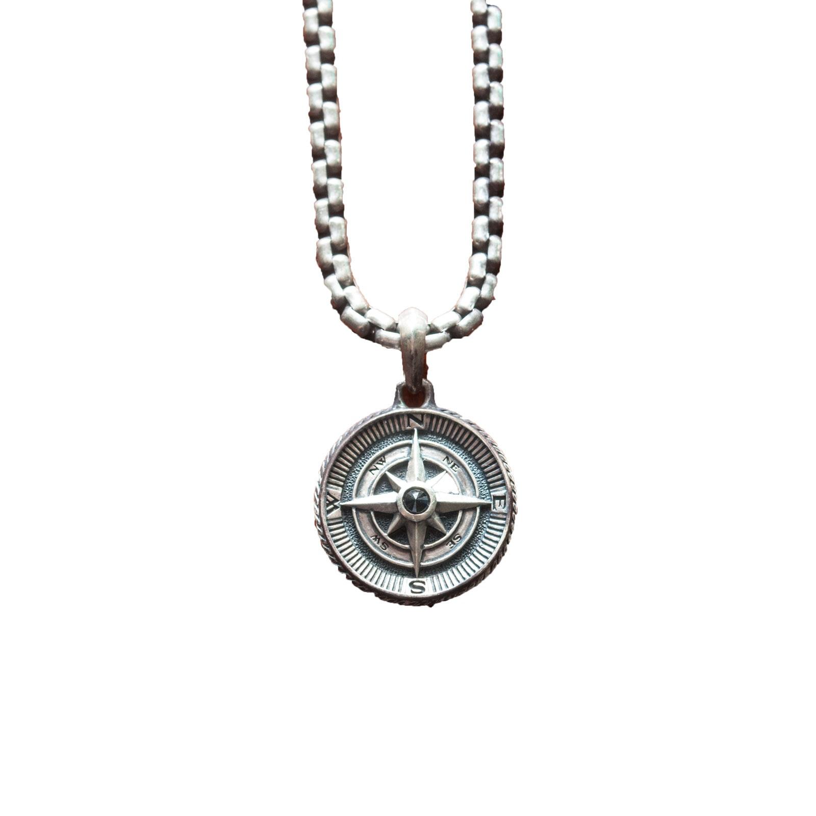David Yurman Sterling Silver Necklace with Diamond Set 'Maritime' Compass Amulet