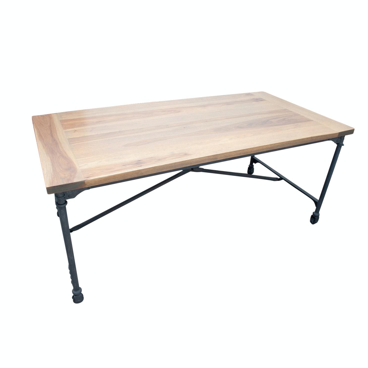 Restoration Hardware Flat Iron Hickory Wood Desk