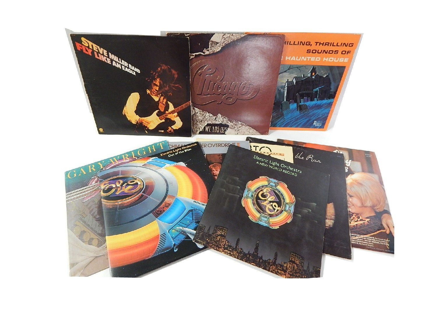 Vintage Classic Rock 33 RPM Records with Steve Miller, ELO, BTO, Chicago