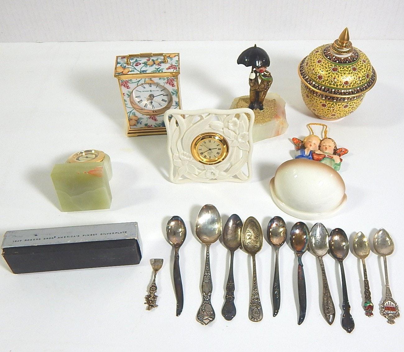 Decorative Housewares with Spoons, Clocks, Figurine and Goebel Hummel Font