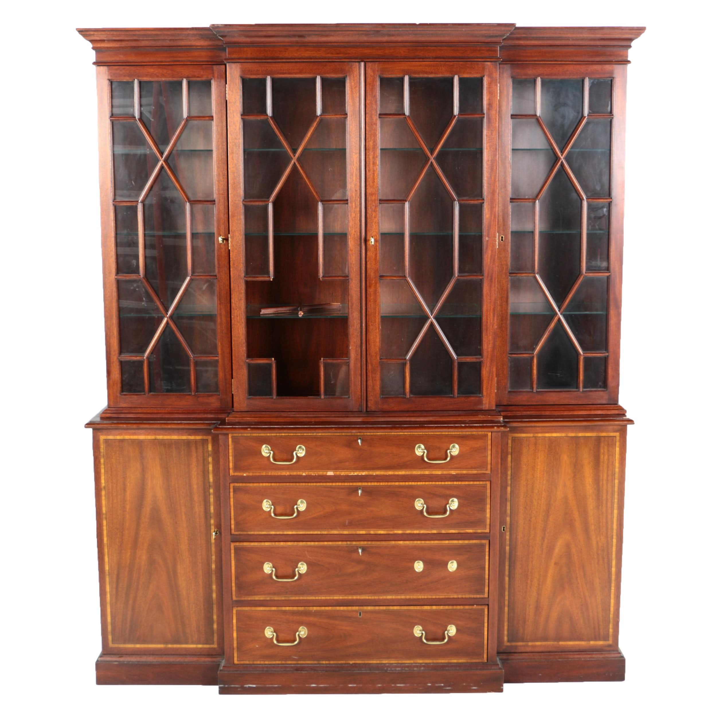 Vintage Georgian Style Mahogany Breakfront China Cabinet by Henkel-Harris