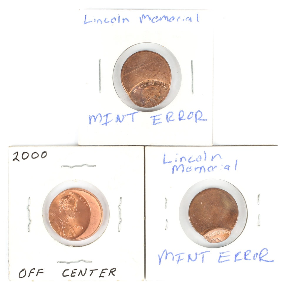 Mint Error Off-Center Lincoln Cents Including 2000