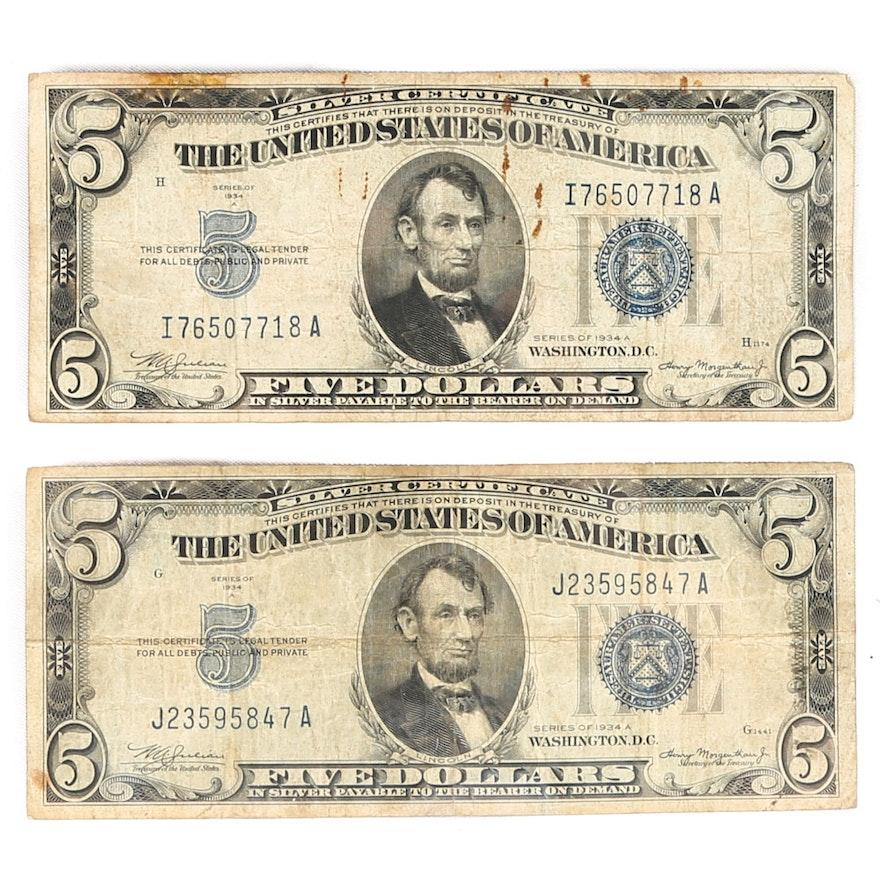 Series 1934-A Five Dollar US Silver Certificates : EBTH