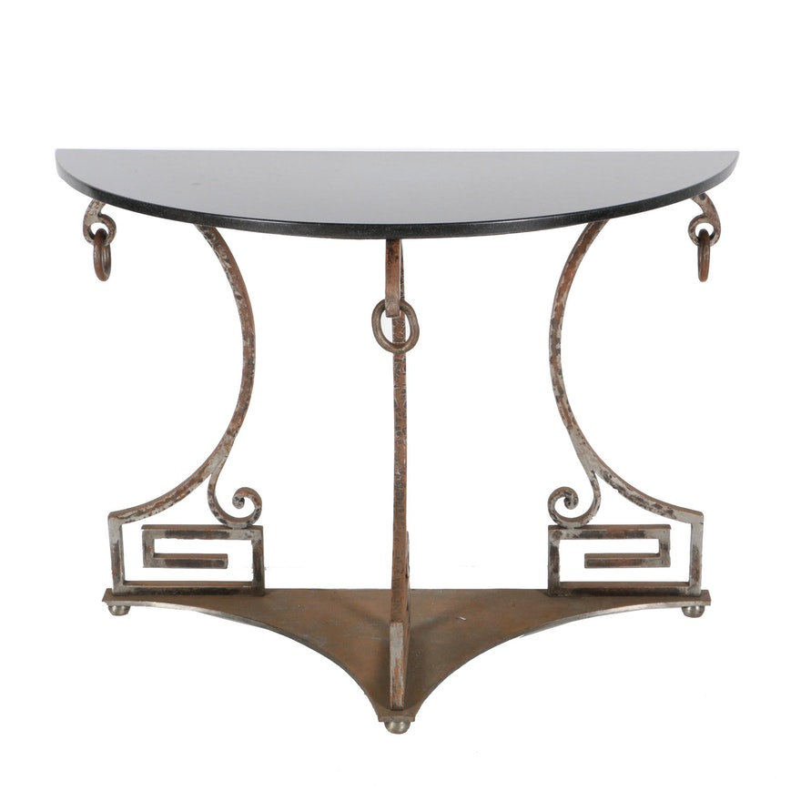Vintage Neoclassical Style Granite Top Console Table Ebth