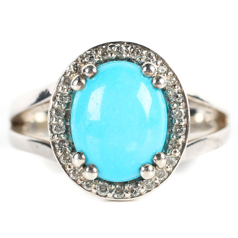 Sterling Silver, Turquoise, and Diamond Halo Ring