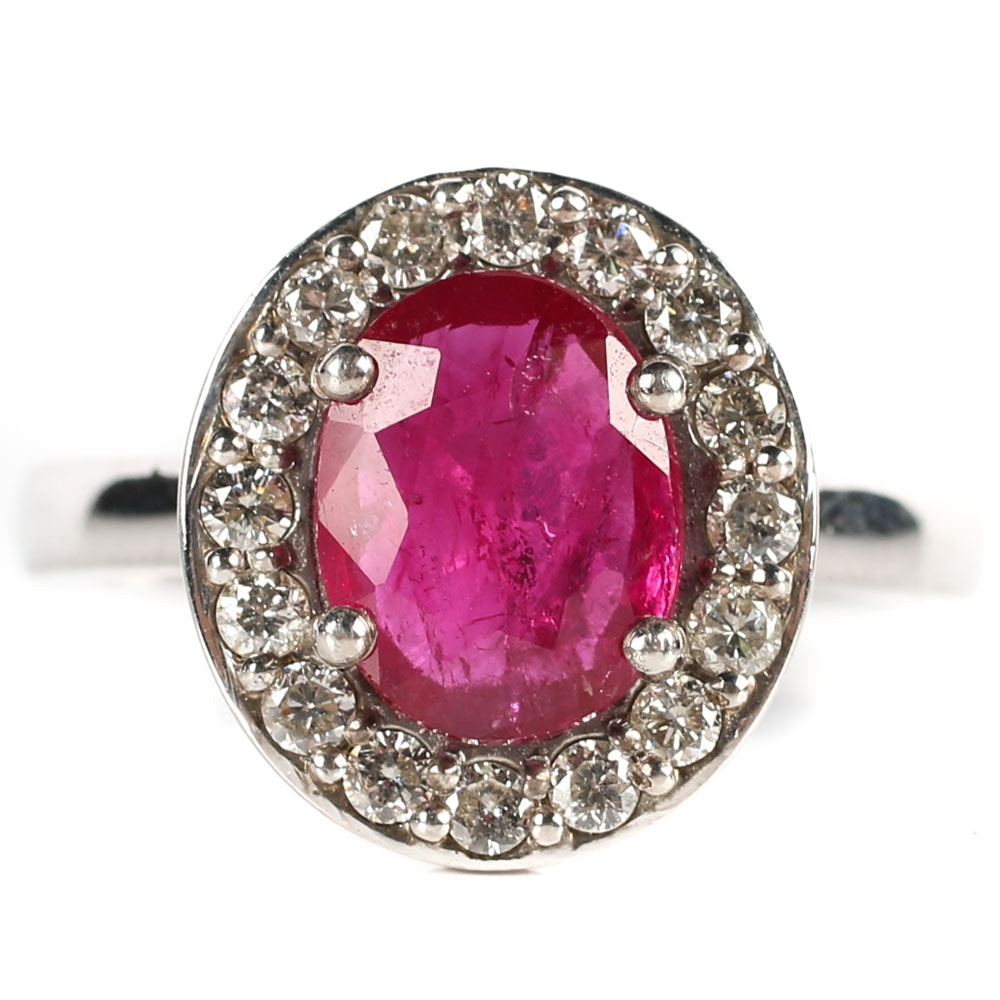 Sterling Silver, 1.38 CT Ruby, and Diamond Halo Ring
