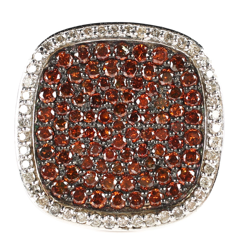 Sterling Silver and 2.05 CTW Diamond Cluster Ring