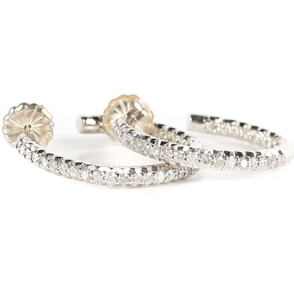 Sterling Silver and Diamond Inside-Out Hoop Earrings