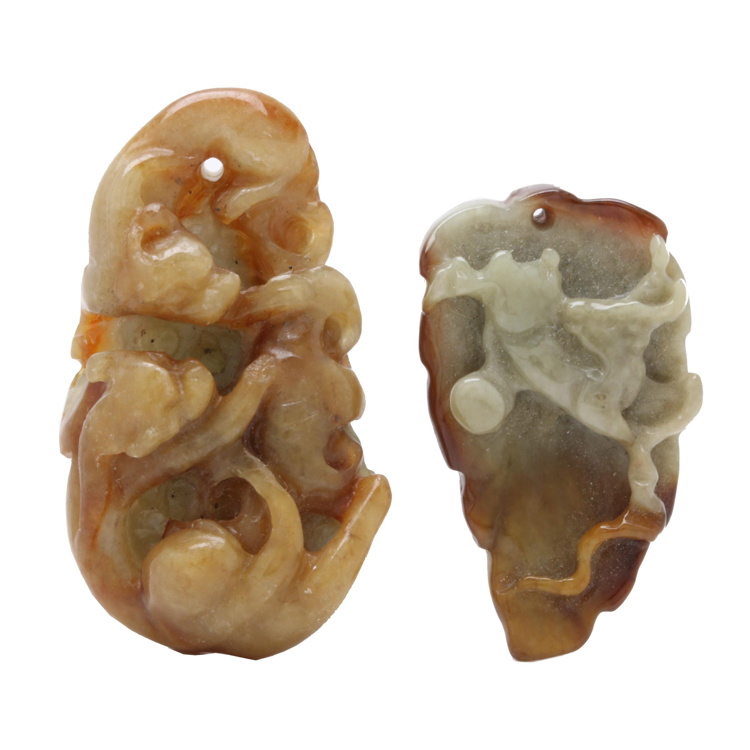 Chinese Carved Jadeite Pendants