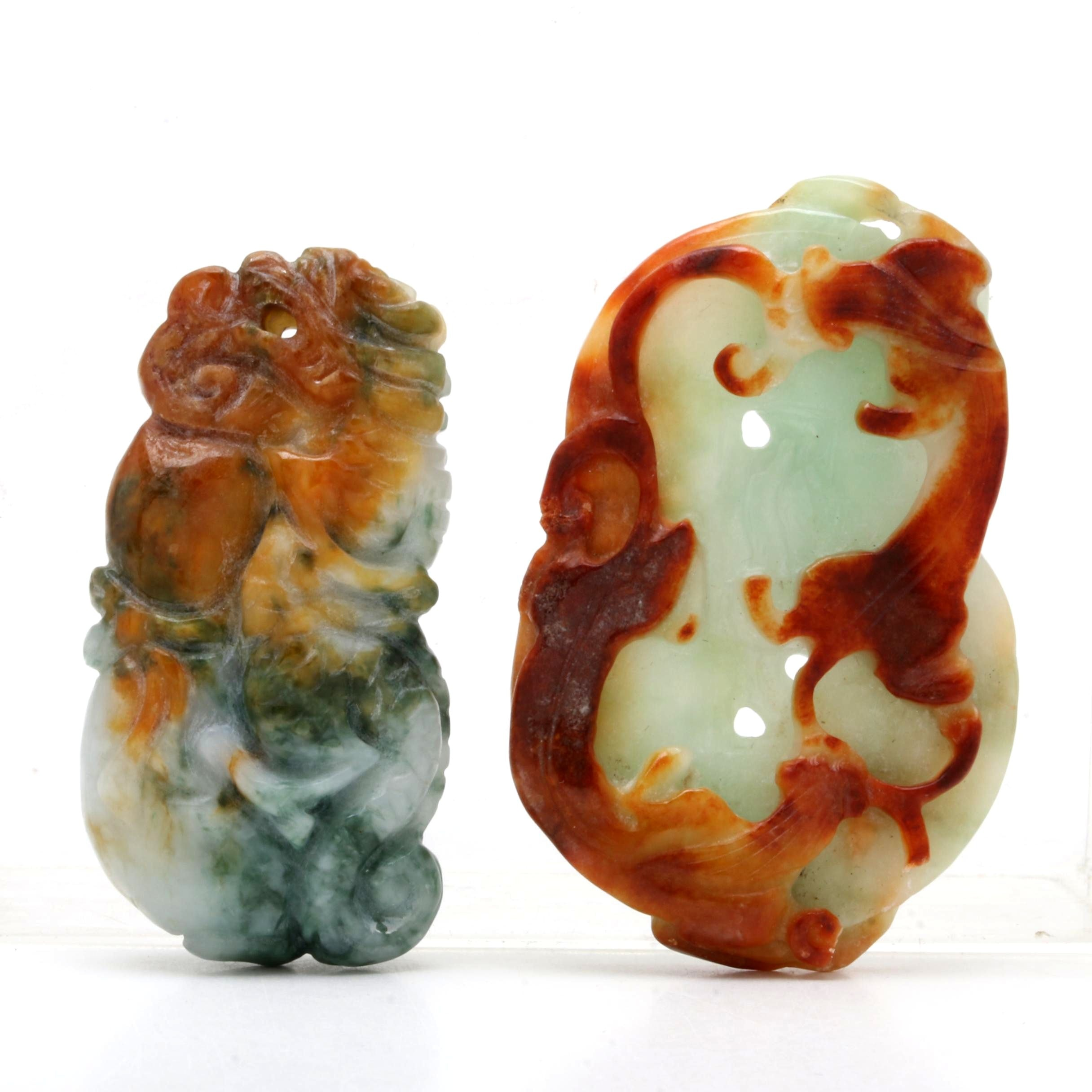 Chinese Carved Jadeite Pendants