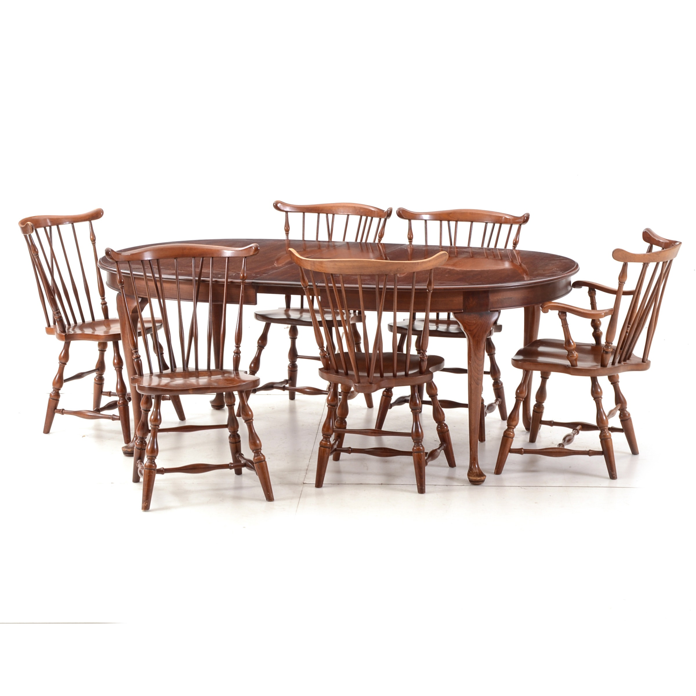 Pennsylvania House Cherry Dining Table And Six Windsor Chairs ...