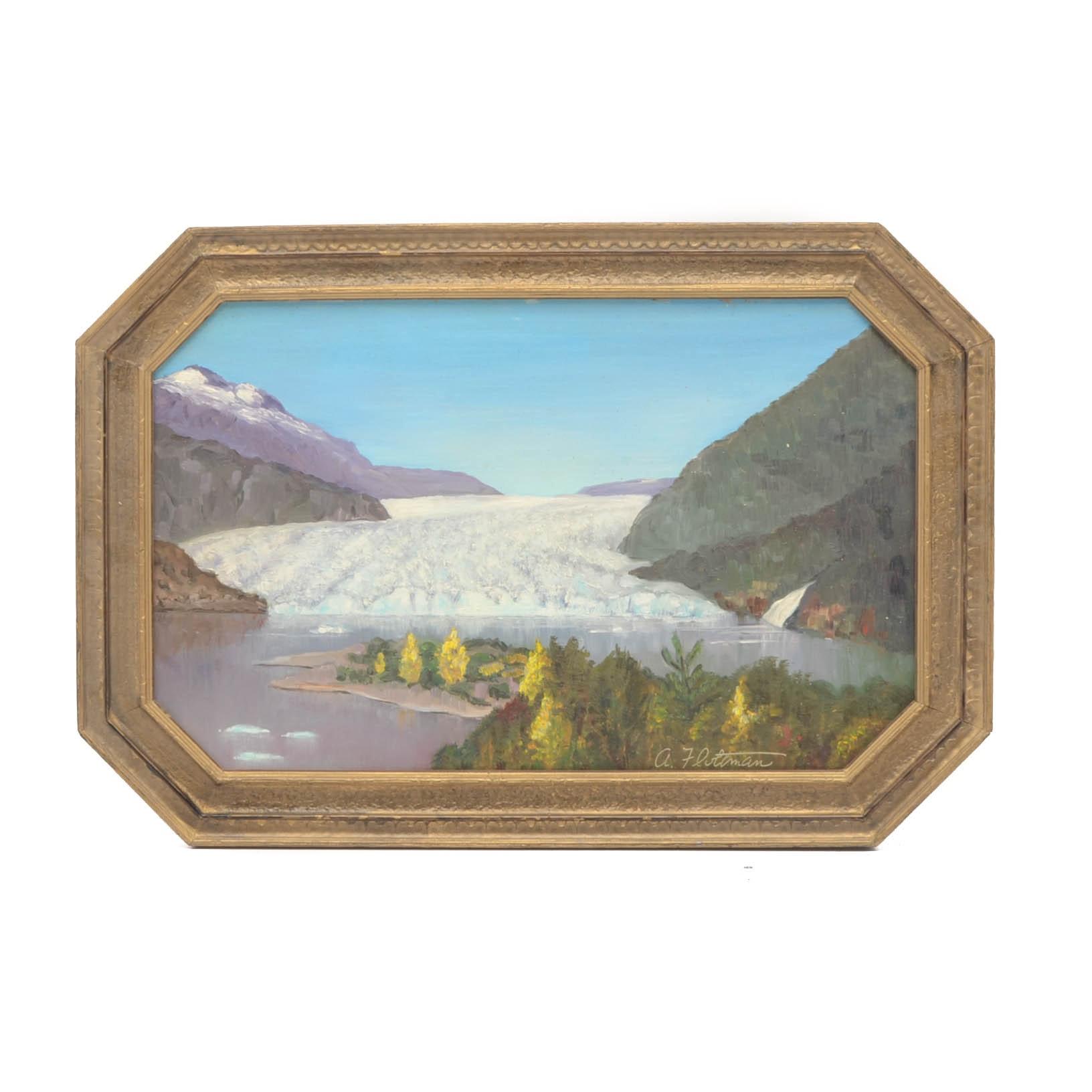 A. Fluttman Original Oil Painting on Masonite