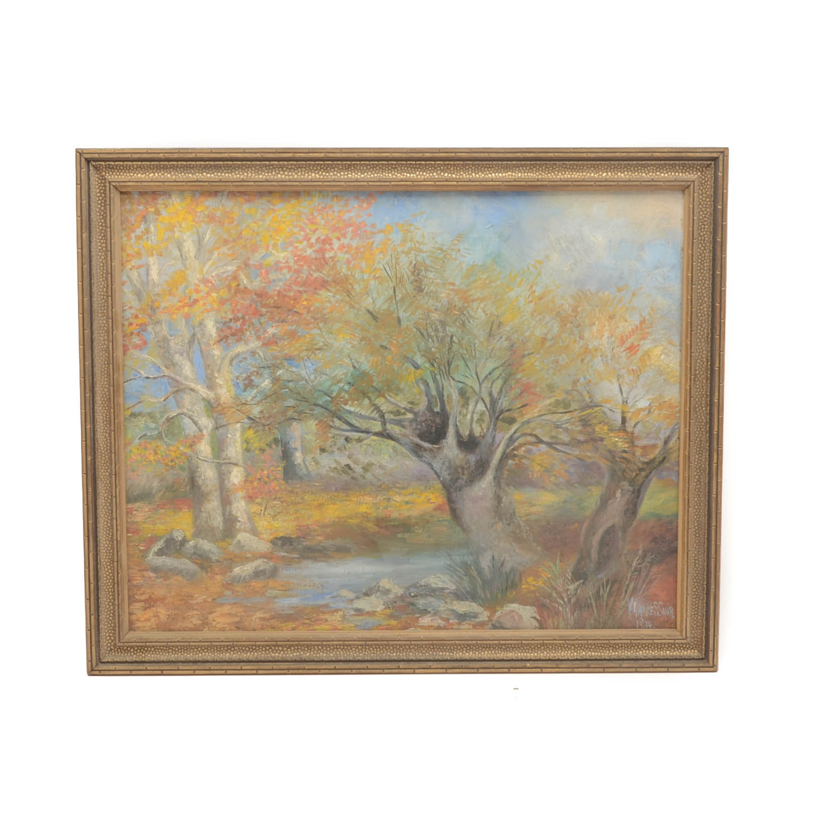 V. Grace Saur Original 1934 Oil Landscape on Canvas Board