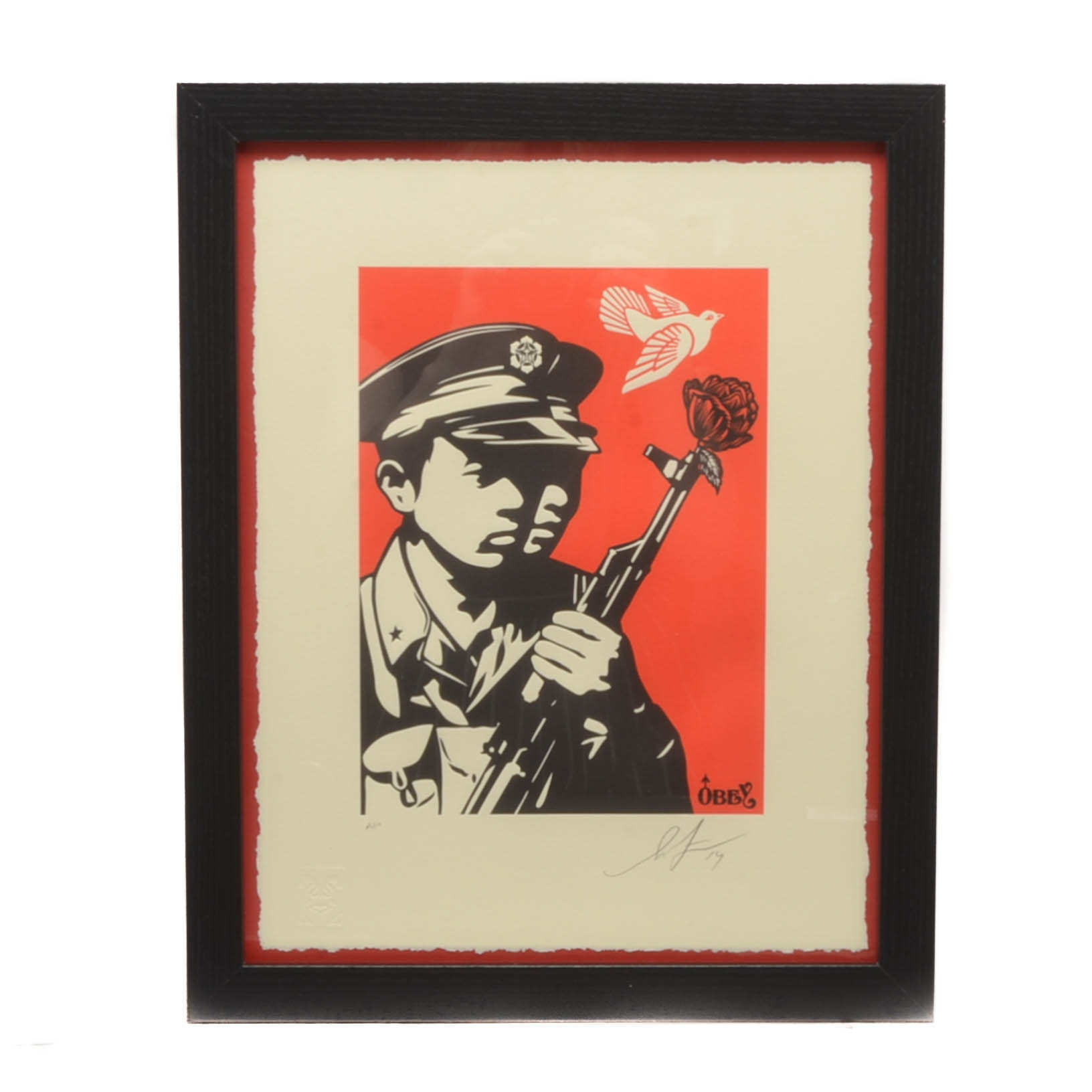 """Shepard Fairey Signed Artist's Proof Letterpress """"Chinese Soldiers"""""""