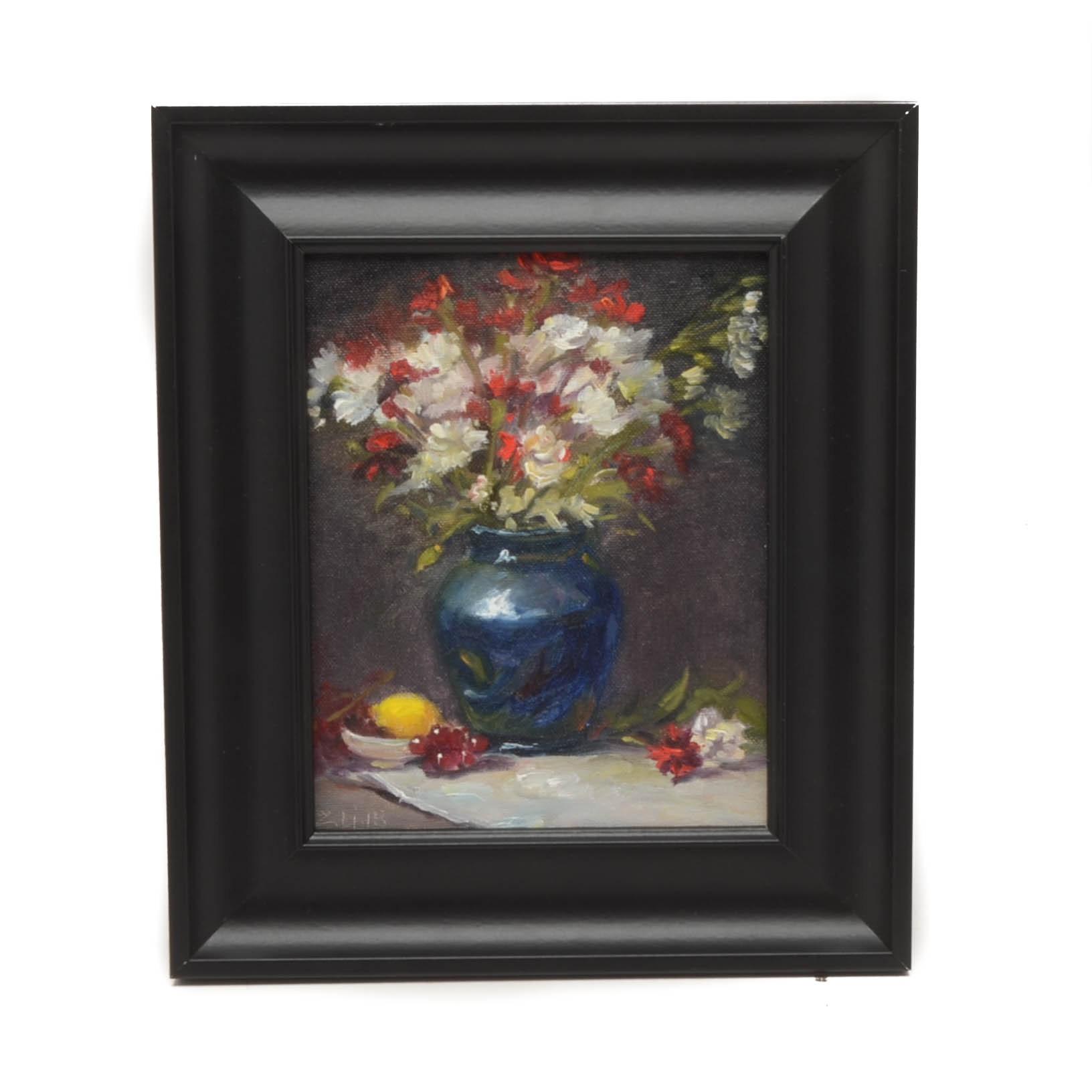 Z. Li 2018 Floral Oil Still Life on Canvas Board