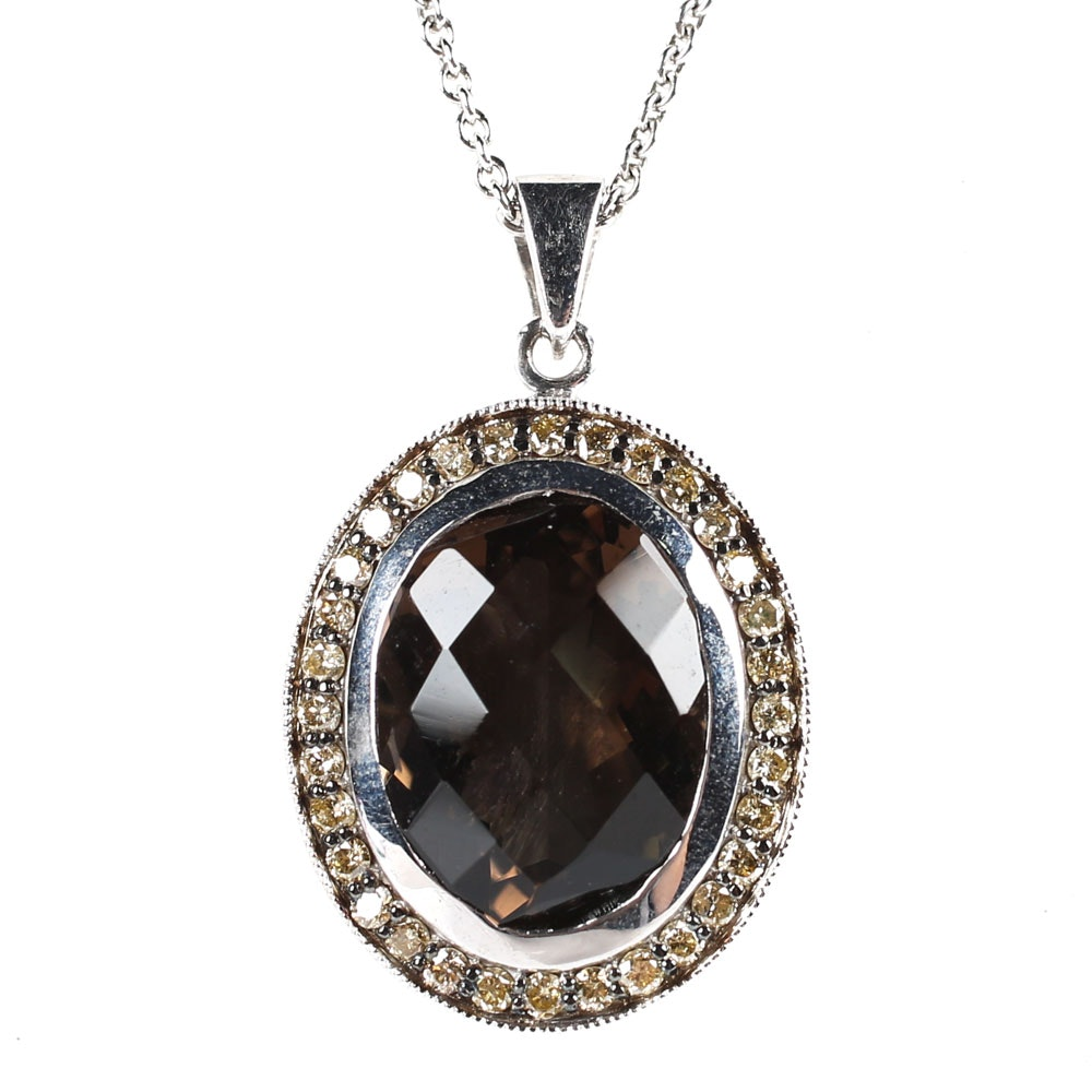 Sterling Silver, 8.60 CT Smoky Quartz, and Diamond Pendant Necklace