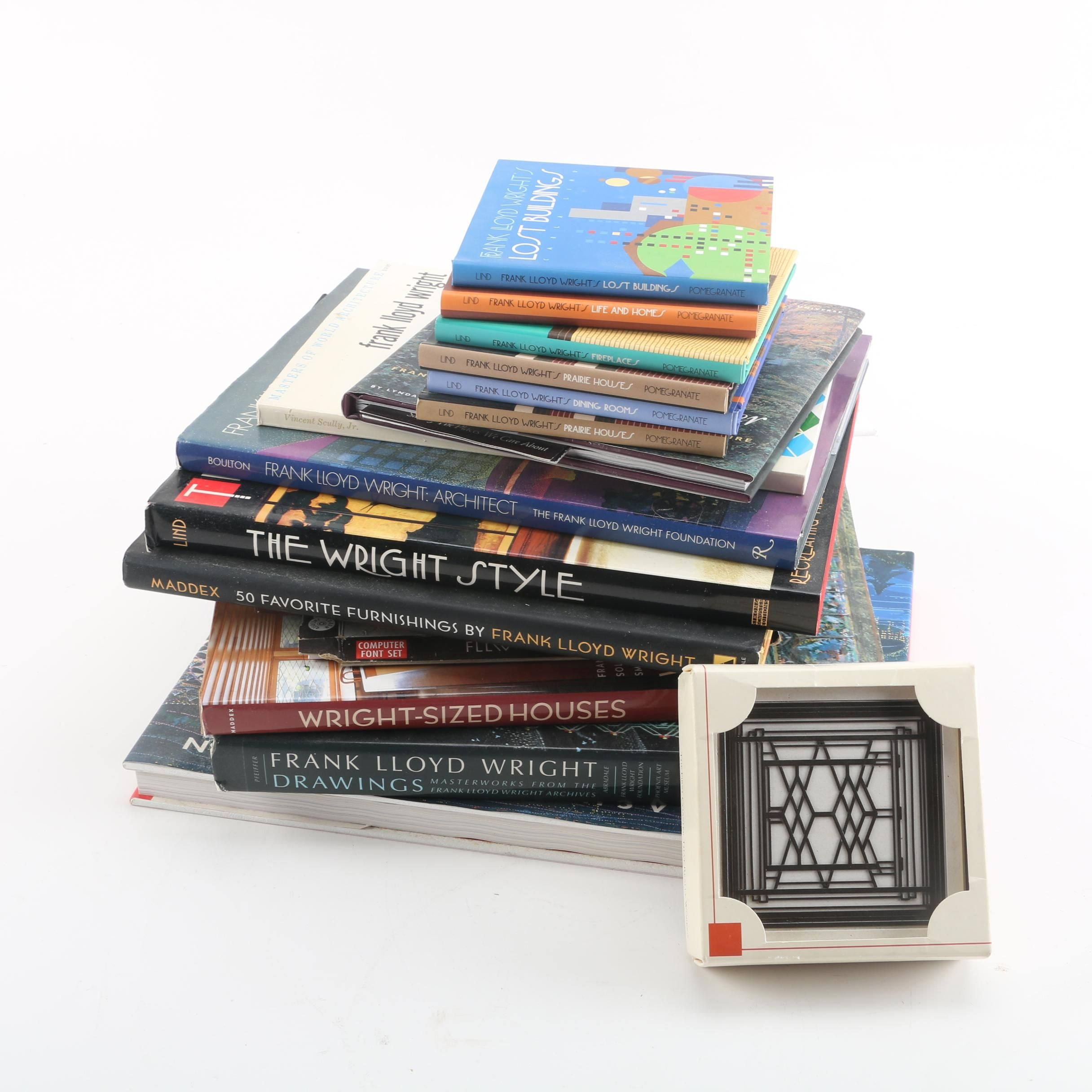 Frank Lloyd Wright Architecture and Design Books with Coasters and Letter Opener