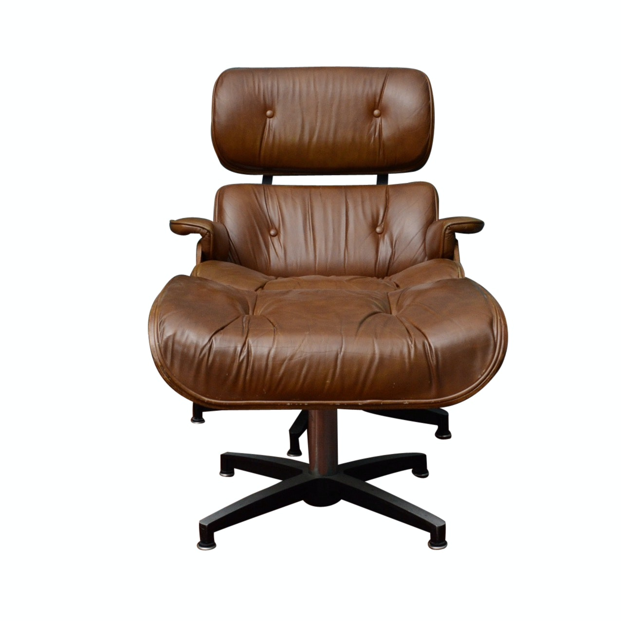 Charles Eames Style Leather Swivel Chair and Ottoman for Herman Miller