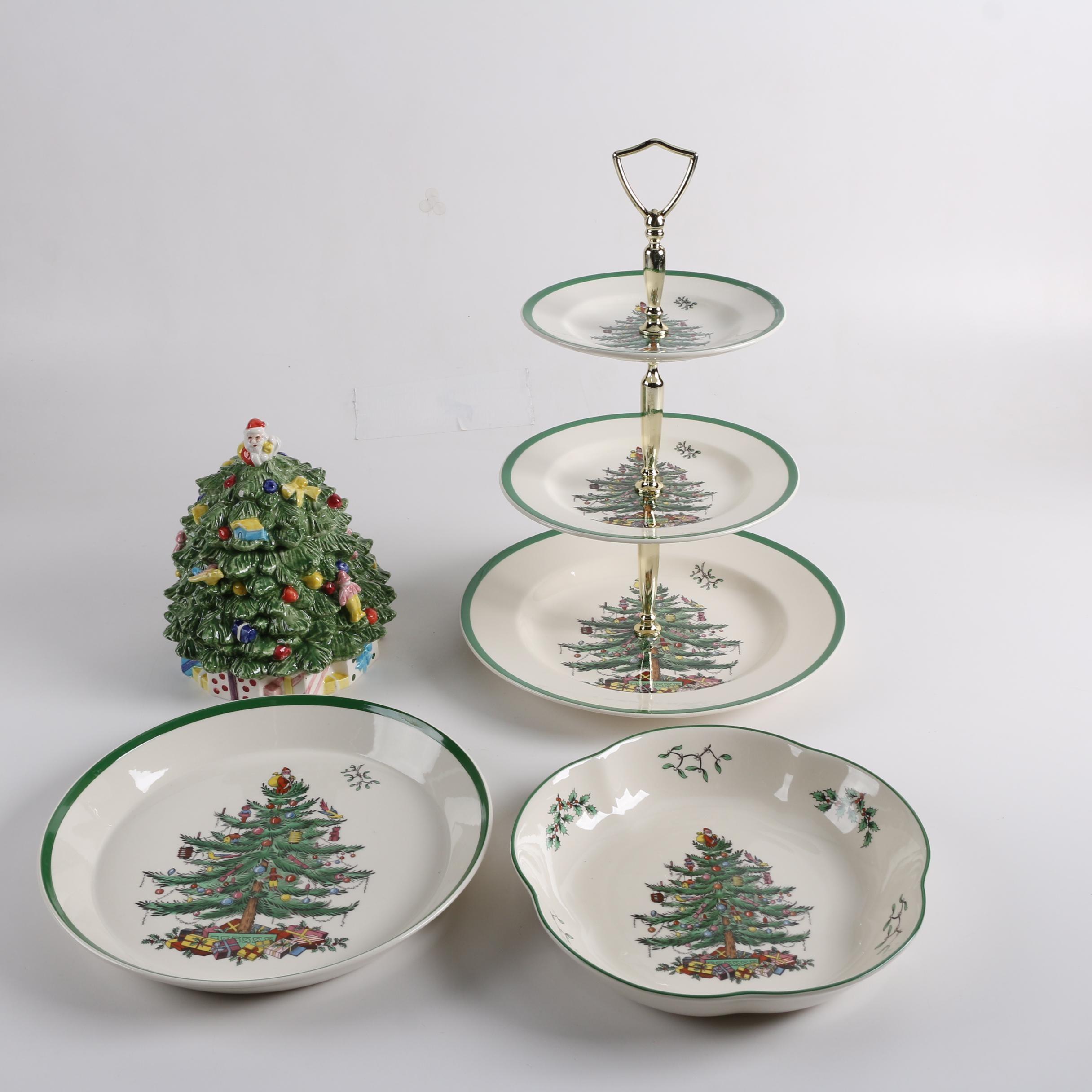 "Spode ""Christmas Tree"" Three-Tier Tray, Cookie Jar and Serveware"