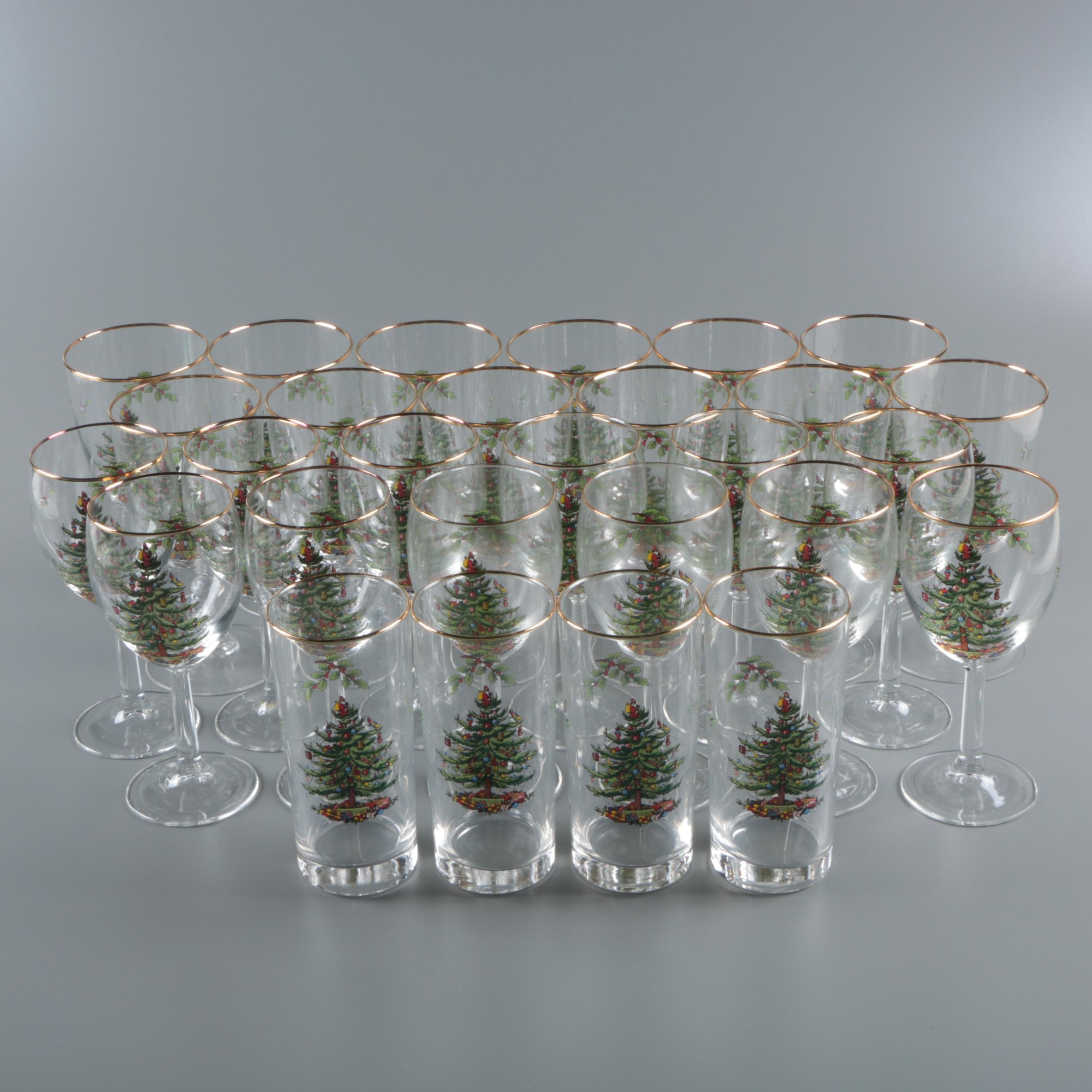 "Spode ""Christmas Tree"" Wine Glasses, Goblets and Highball Glasses"