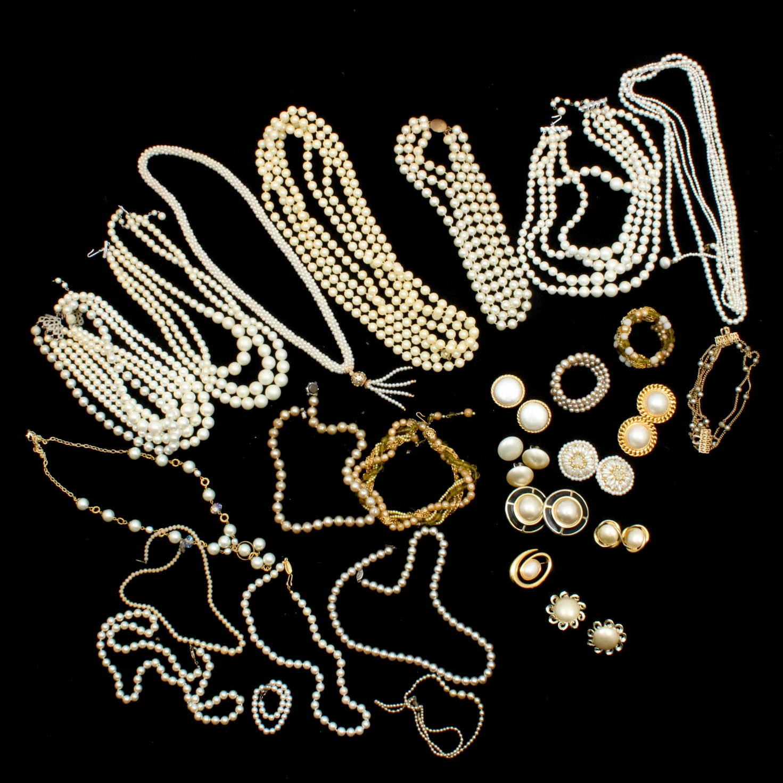Vintage Imitation Pearl Costume Jewelry