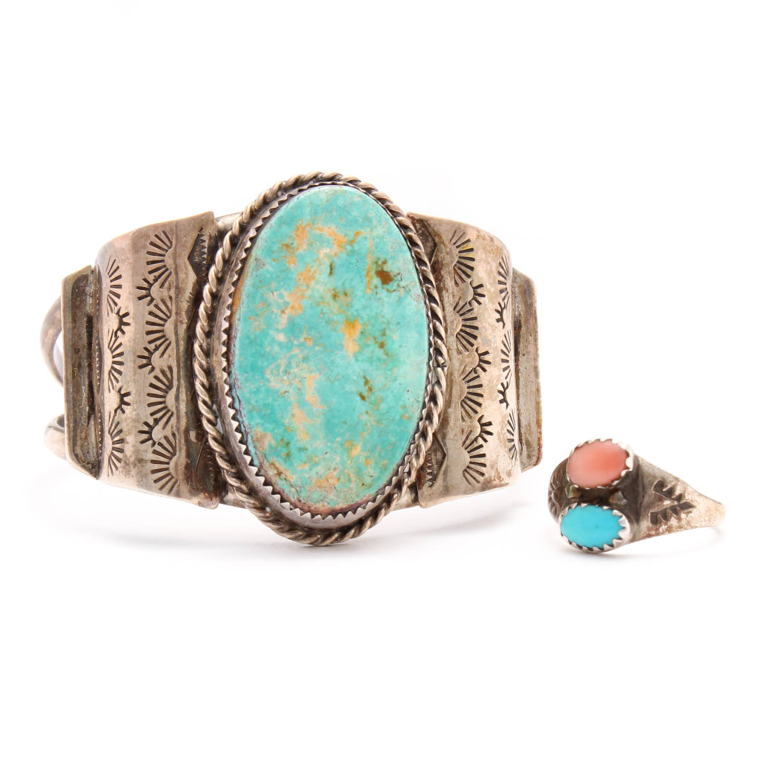 Sterling Silver, Turquoise, and Coral Jewelry Pairing