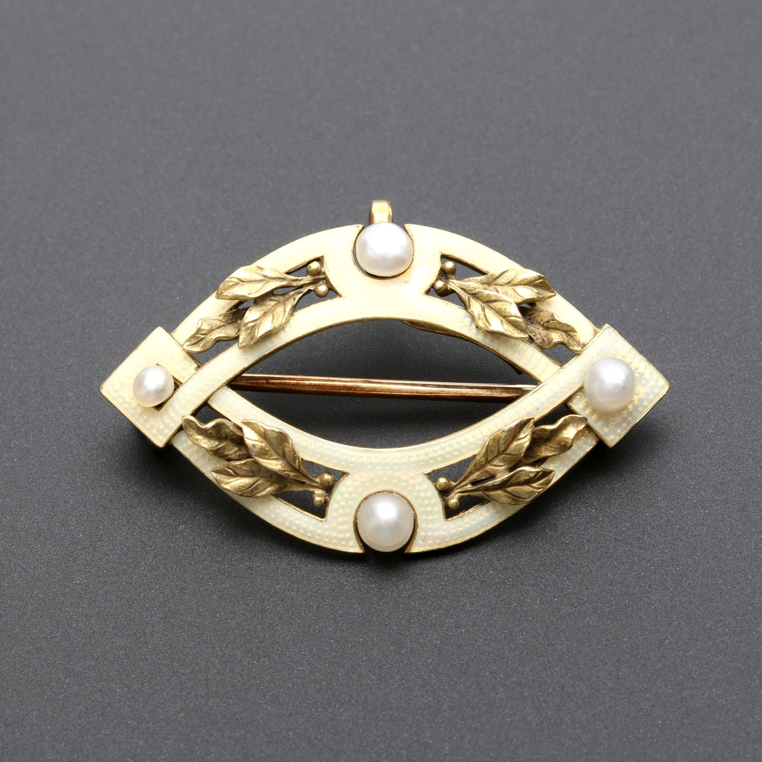 Art Nouveau 14K Yellow Gold Seed Pearl Brooch