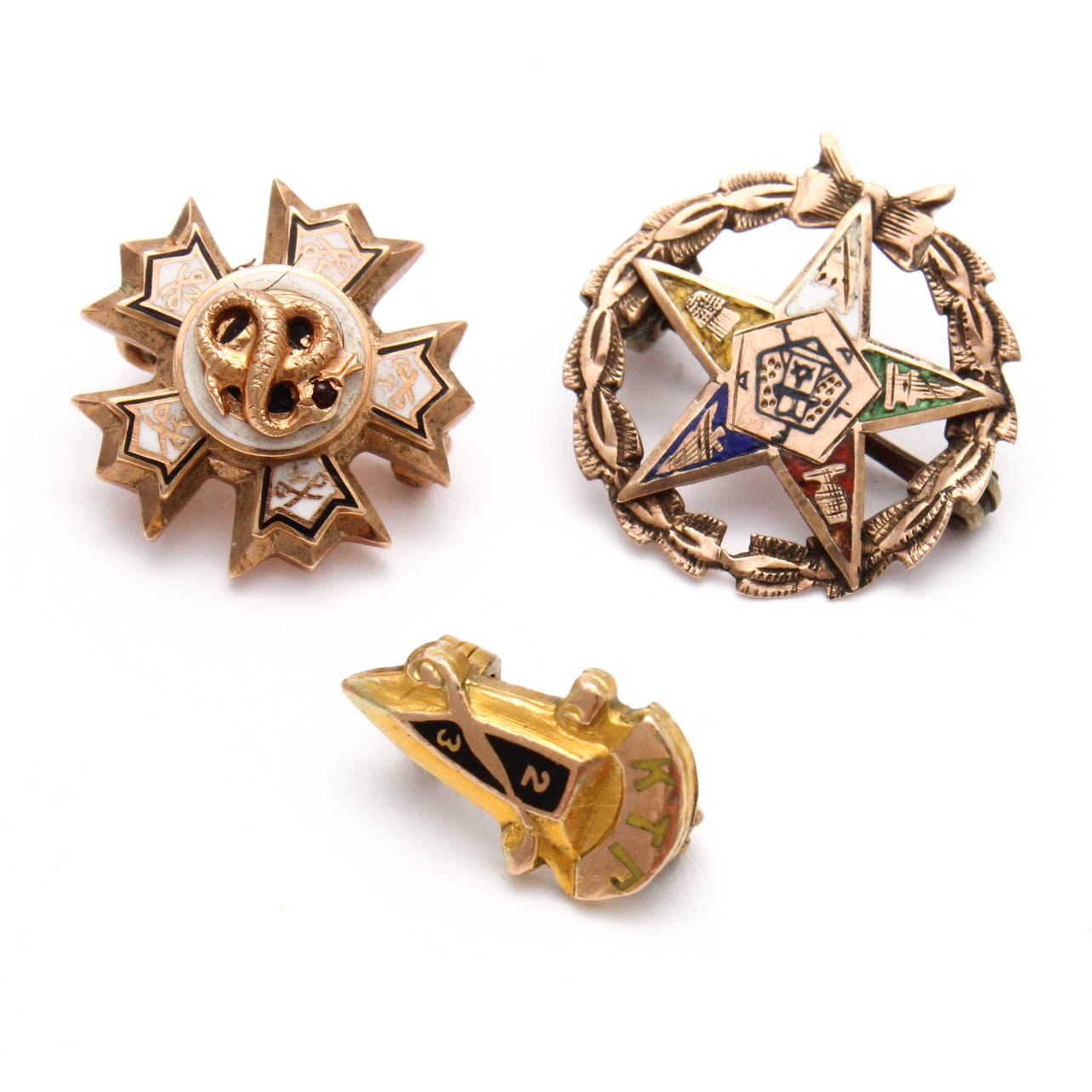 10K and 14K Yellow Gold Fraternal Pins