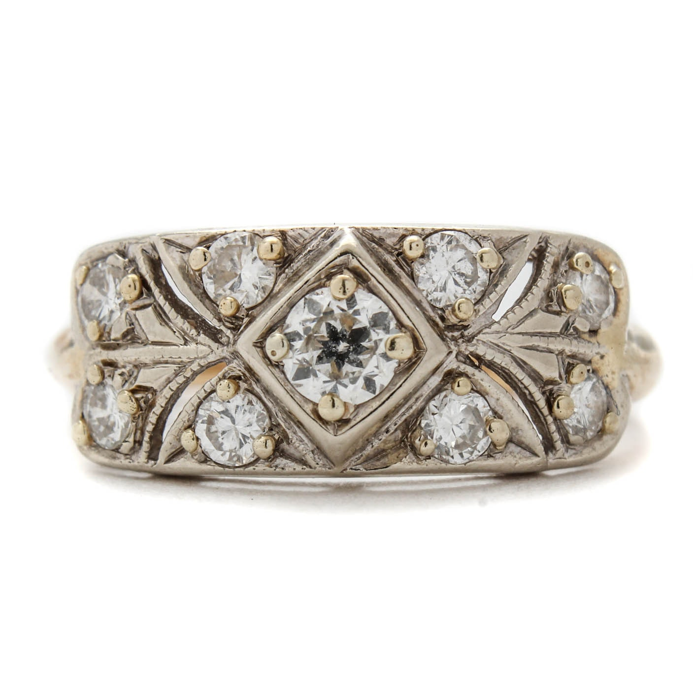 14K Two-Tone Gold and Diamond Ring