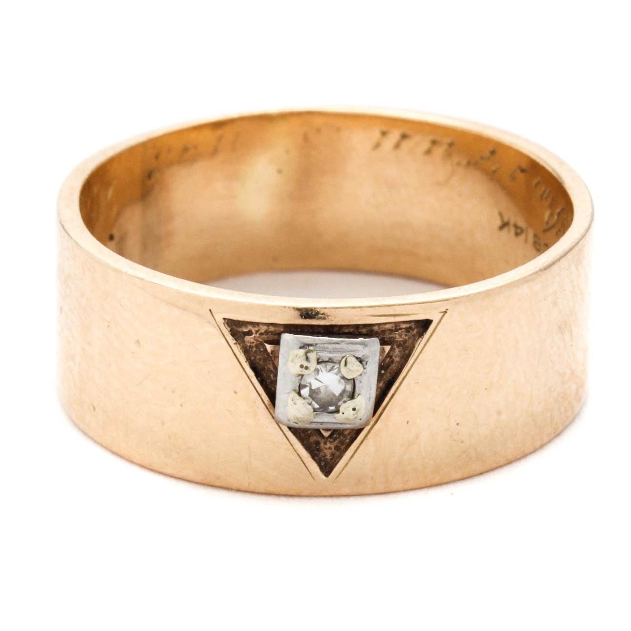 14K Yellow Gold and Diamond Scottish Rite Masonic Ring