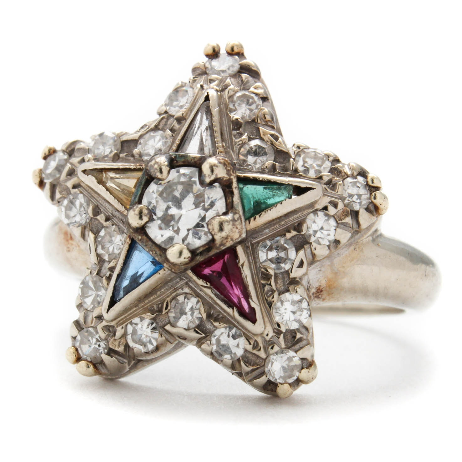 14K White Gold and Diamond Eastern Star Ring